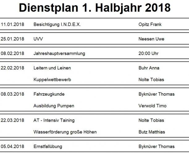 Dienstplan 2018-I